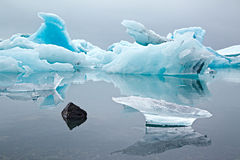 Blue glacier drift pack ice melting Stock Photo