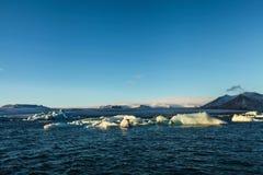 Blue glacier ice, iceberg, Jokulsarlon lagoon, Iceland Stock Photos