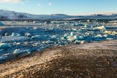 Blue glacier ice, iceberg, Jokulsarlon lagoon, Iceland Royalty Free Stock Image
