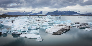 Blue glacier ice, Jokulsarlon lagoon, Iceland stock photo