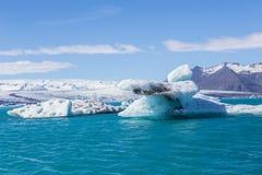 Blue glacier ice-Jokulsarlon lagoon-Iceland. Blue glacier ice in the Jokulsarlon lagoon. Largest glacier lagoon or lake in south eastern Iceland stock images