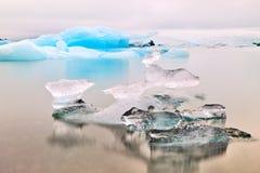 Blue glacier ice Jokulsarlon lagoon iceland Royalty Free Stock Photography