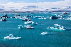 Blue glacier ice-Jokulsarlon lagoon-Iceland. Blue glacier ice in the Jokulsarlon lagoon. Largest glacier lagoon or lake in south eastern Iceland stock photos