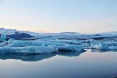 Blue glacier lagoon. Blue shading of Icelandic Glacier lagoon in the evening Royalty Free Stock Image