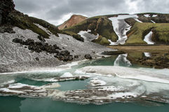 Blue glacier lake near Landmannalaugar campsite Royalty Free Stock Photography