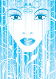 Blue glamor girl. Blue color vector file of glamor girl stock illustration