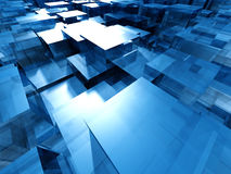 Blue Glass Abstract Cubes Background. 3d Render Illustration Royalty Free Stock Photography