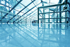 Blue glass airport ceiling Royalty Free Stock Images