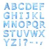Blue glass alphabet. On the white background stock illustration