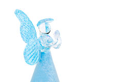 Blue glass angel praying isolated on white background Stock Photo