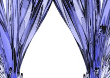 Blue Glass Arrow Curtains. Thin Glass 3d Arrows, isolated Royalty Free Stock Images