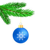 Blue Glass Ball. On Green Fir Branch. Christmas Symbol. Green Branch on White Background Royalty Free Stock Photo