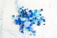 Blue glass beads Stock Images