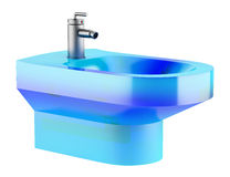 Blue glass bidet isolated on white Stock Photo