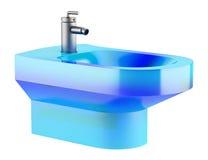 Blue glass bidet isolated on white Stock Photo
