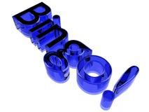 Blue glass bingo logo. A Bingo! logo made of blue glass or crystal on a light-emitting white background Royalty Free Stock Photo