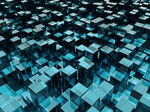 Blue Glass Blocks of Random Height Background. Abstract Technology Backdrop. 3D Illustration vector illustration