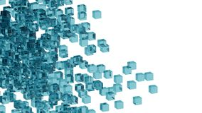 Blue glass blocks randomly positioned in space with white background. Randomly positioned blue cubes in white space. 3D render concept. Material of cubes is Royalty Free Stock Photos