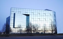 Blue Glass Building. In twilight Royalty Free Stock Image
