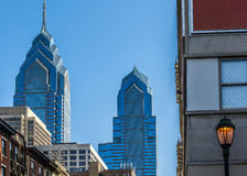 Blue glass buildings with blue sky background Royalty Free Stock Photos