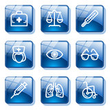 Blue glass button 13 Royalty Free Stock Photos