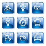 Blue glass button 20. Vector icons set for internet, website, guides stock illustration