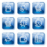 Blue glass button 26. Vector icons set for internet, website, guides stock illustration