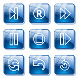 Blue glass button 29 Stock Photography