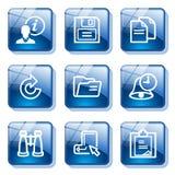 Blue glass button 3 Stock Photos