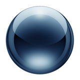 Blue glass button. Blank blue glass button with reflections and refractions Royalty Free Stock Photos