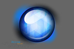 Blue glass button on a gray. Vector concepts design background stock illustration