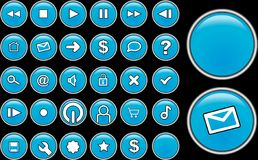 Blue glass buttons. For interface designs Stock Images