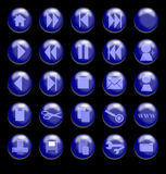 Blue Glass Buttons on a Black Background Stock Images
