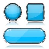 Blue glass buttons with chrome frame. Set of shiny 3d web icons Royalty Free Stock Photography
