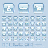 Blue Glass Buttons and Internet Icons. Royalty Free Stock Images