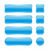 Blue glass buttons. Menu interface elements. Set of 3d shiny icons. Vector illustration isolated on white background Stock Image