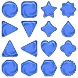 Blue glass buttons set Royalty Free Stock Image