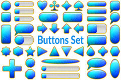 Blue Glass Buttons Set Royalty Free Stock Photo