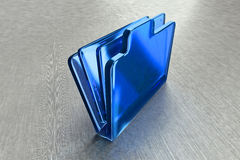 Blue glass carrying case. Abstract, three dimensional illustration of a brief case or laptop carrying case made of glass Royalty Free Stock Photo