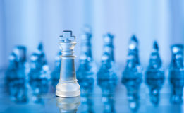 Blue glass chess Stock Photo