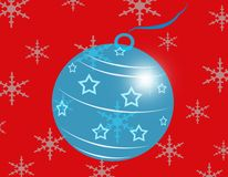 Blue Glass Christmas Ball Stock Photography