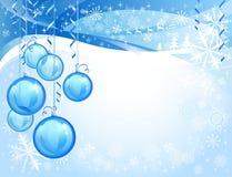 Blue glass christmas balls Royalty Free Stock Photography
