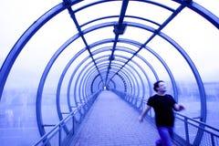 Blue glass corridor Stock Photography