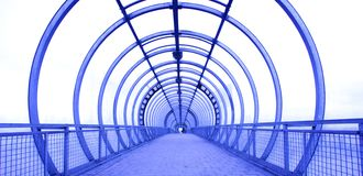 Blue glass corridor Stock Images