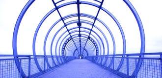 Blue glass corridor Stock Images