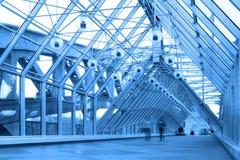 Blue glass corridor in bridge Royalty Free Stock Photography