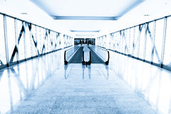 Blue Glass Corridor In Office Centre Royalty Free Stock Photo