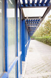 Blue glass corridor Royalty Free Stock Image