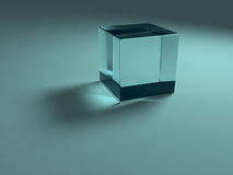 Blue glass cube Royalty Free Stock Image