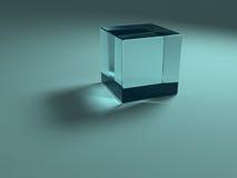 Blue glass cube. Illuminated, on plane stock illustration